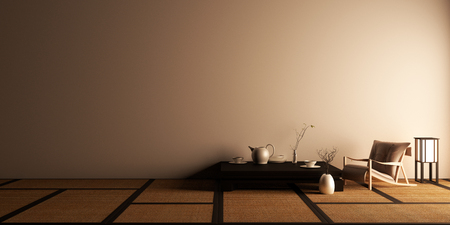 Photo pour Mock up, Designed specifically in Japanese style, empty room. 3D rendering - image libre de droit