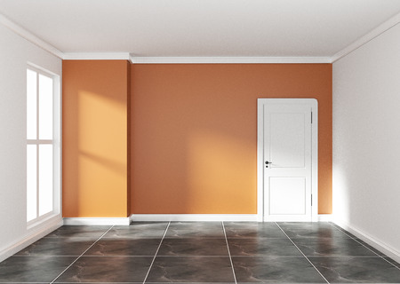Photo pour Empty room with orange wall on black granite floor. 3D rendering - Illustration - image libre de droit
