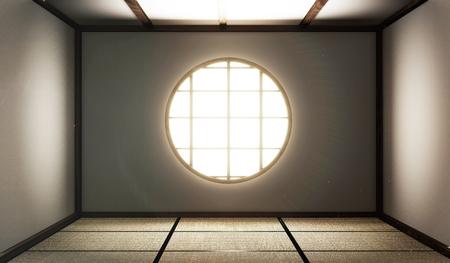 Foto de room empty with Tatami mats and paper window on room zen style.3D rendering - Imagen libre de derechos