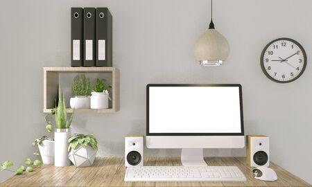 Foto de computer with blank screen  and decoration in office room mock up background.3D rendering - Imagen libre de derechos