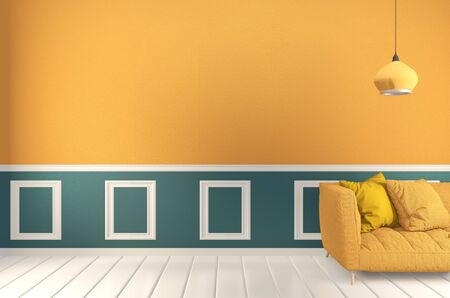 Foto de room Green and yellow, Sofa yellow and decoration plants on light green wall and wooden floor.3D rendering - Imagen libre de derechos