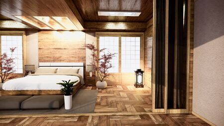 Photo for bedroom japanese interior design.3D rendering - Royalty Free Image