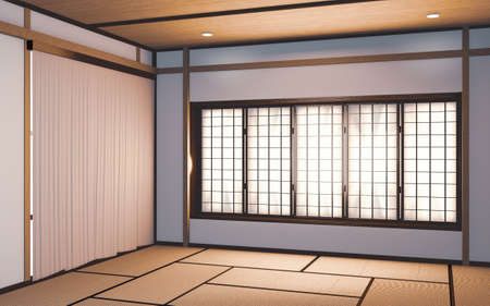 Photo for Idea white Empty room Japan interior design. 3D rendering - Royalty Free Image
