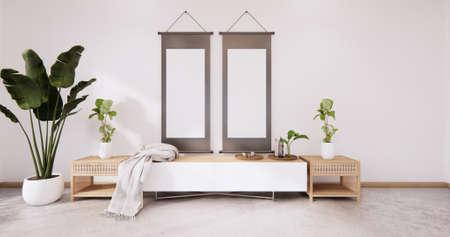 Foto de The wooden tv cabinet in white wall on white floor room japanese style. 3d rendering - Imagen libre de derechos