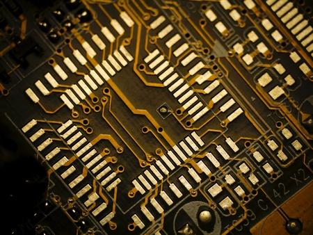 Photo pour Detail of printed circuit board, old motherboard  - image libre de droit