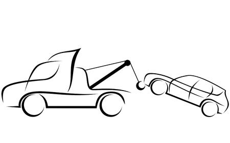 Ilustración de Dynamic illustration of a tow truck helping to transport a damaged SUV car - Imagen libre de derechos