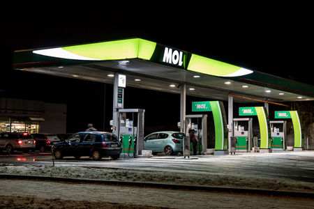 OSTRAVA, CZECH REPUBLIC - JANUARY 16, 2018: MOL gas station during night in Ostrava, Czech republic. The company has replace Agip gas stations. The image was taken on January 16, 2018.