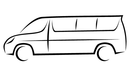 Ilustración de Dynamic vector illustration of a minivan for passengers which can be used as a shuttle bus to airports. The car has a modern kinetic design. - Imagen libre de derechos
