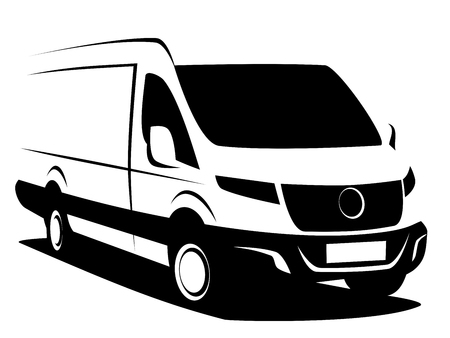 Illustration pour Dynamic vector illustration of a commercial delivery van used for transporting cargo. It can be used as a logo. - image libre de droit
