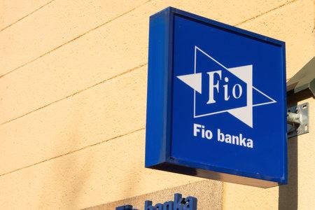 OSTRAVA CZECH REPUBLIC - FEBRUARY 19, 2019: Logo of the FIO Banka bank on a Sorela building in Ostrava, Czech Republic.