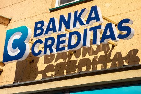 OSTRAVA CZECH REPUBLIC - FEBRUARY 19, 2019: Logo of the Banka Creditas bank on a Sorela building in Ostrava, Czech Republic.