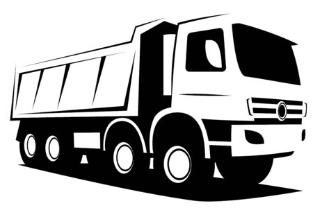 Illustration for Dynamic vector illustration of a european tipper truck with four axles used in industrial construction works - Royalty Free Image