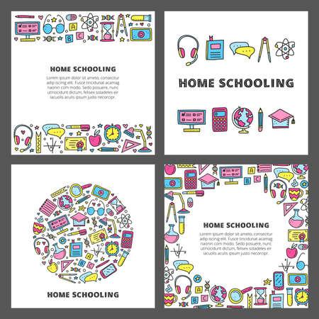 Illustration pour Set of cards with doodle colored education icons. - image libre de droit