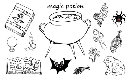 Illustration for Magic potion, set of elements on a white background, Grimoire, pot with potion and ingredients, vector illustration - Royalty Free Image