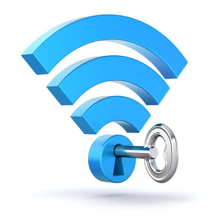 WiFi concept with wifi symbol and the key