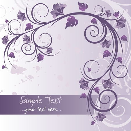 Floral purple background with space for text
