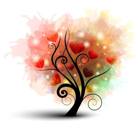 Illustration for Abstract tree silhouette with rainbow leafs and heart - Royalty Free Image