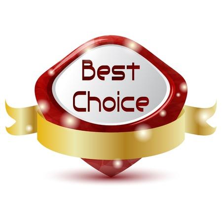 Illustration pour red best choice symbol with golden ribbon - image libre de droit
