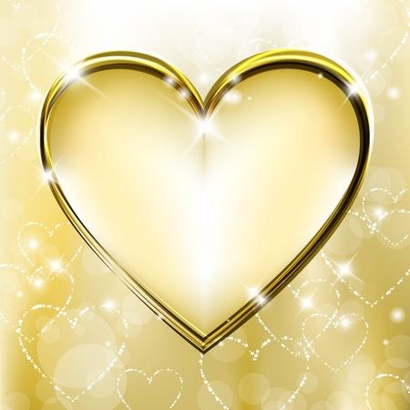 Foto de Golden background with shiny and sparkling heart shapes - Imagen libre de derechos