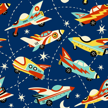Ilustración de Vintage space cars seamless vector pattern on dark blue background.  Cute hand drawn cars, rockets, stars and moon. Perfect for fabric, wallpaper or wrapping paper. - Imagen libre de derechos