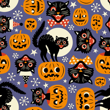 Photo for Vintage spooky cats and halloween pumpkins seamless vector pattern on purple background. - Royalty Free Image