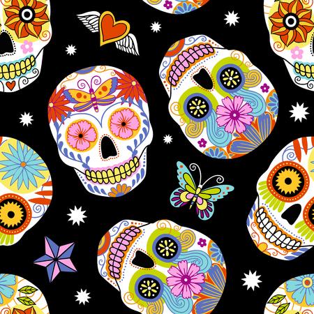 Ilustración de Seamless repeat vector pattern with traditional mexican sugar skulls. - Imagen libre de derechos