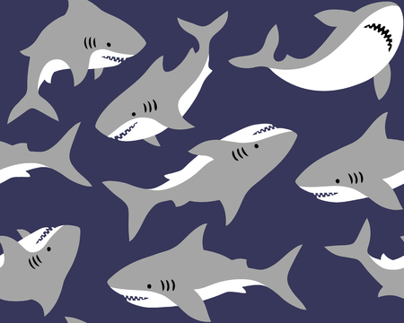 Illustration pour Hand drawn vector seamless pattern with cute sharks on blue background.  Perfect for fabric, wallpaper or wrapping paper. - image libre de droit