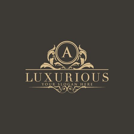 Illustration for Crests logo, Hotel logo, luxury letter monogram vector logo design, fashion brand identity, vector logo template - Royalty Free Image