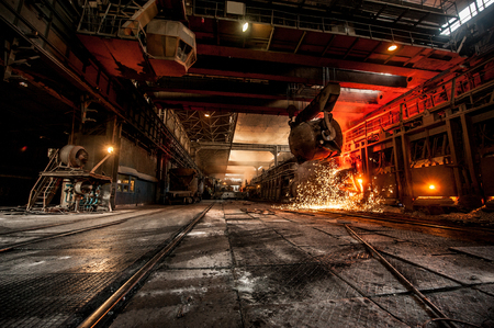 Photo for from ladle pours red-hot steel - Royalty Free Image