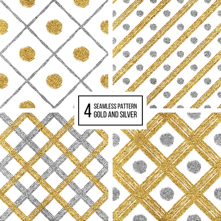 Set of grunge seamless pattern of gold silver diagonal stripes and circle, seamless golden silvern background lines, points, cage, hand drawn vector pattern for invitation, card, wedding, holiday, web