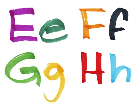 Very large handwritten font, letters E F G H in capital and small cases, made with colorful ink markers and paper fibers visible.