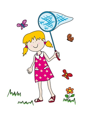 Large childlike cartoon character: little girl with a big smile holding a butterfly net and having fun tryong to catch them