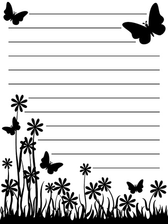 Illustration pour Cute black and white butterfly and flowers notepad. - image libre de droit