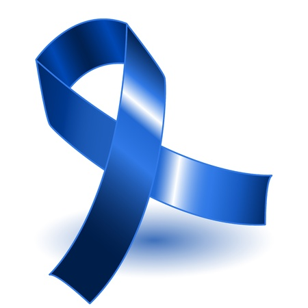 Dark blue awareness ribbon over a white background with drop shadow, simple and effective.