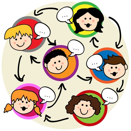 Foto für Social network concept: fun cartoon of kids talking and being interconnected - Lizenzfreies Bild