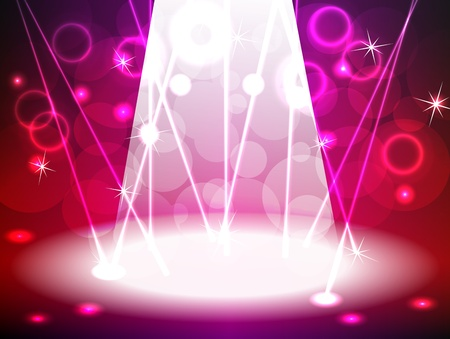 Pink and red lit stage for music, rock concert, dance or other event with a bright lights, lasers, bokeh and other neon effects, can be used for product advertising.