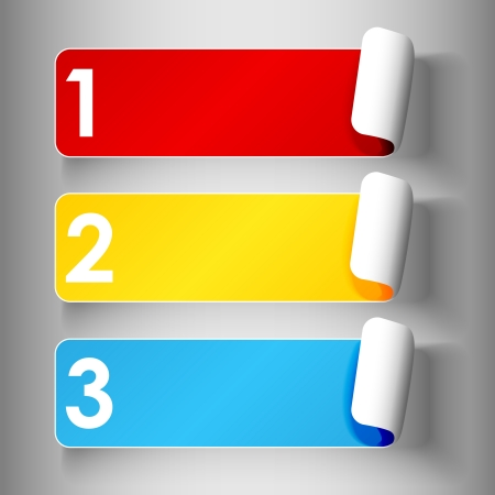 Set 1 of cute and colorful peeling off label or sticker in primary colors with shadows, big 1,2,3, numbers in white over light grey gradient background, ready for your text.