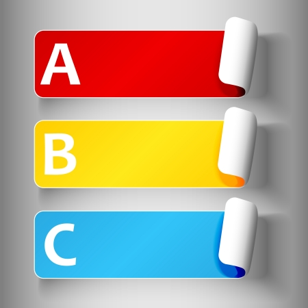 Set 1 of cute and colorful peeling off label or sticker in primary colors with shadows, big A, B, C letters in white, over light grey gradient background, ready for your text.