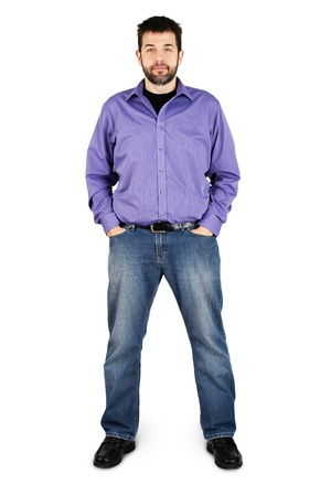Complete body shot of a tall caucasian man in jeans over white