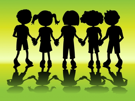 Row of kids black silhouettes holding hands with shadow