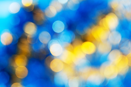 Photo pour Blue Yellow White bokeh. Christmas background texture - image libre de droit