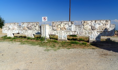 Signagi, Georgia - Sent 17, 2016: Road sculpture near Gate of Sighnaghi city wall. It is City of Love in Georgia, with many couples visiting it just to get married. Kakheti region