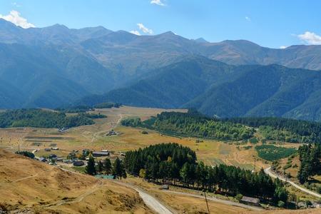 View on Mountains and Omalo village. Tusheti Nature Reserve. Georgia