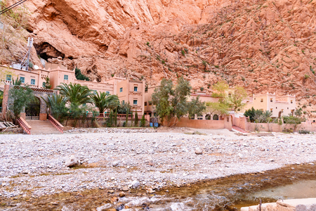 Tinghir, Morocco - Jan 05, 2017: Hotel in Todgha Gorge is canyon in Atlas Mountains, near Tinghir city