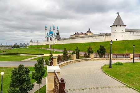 View of Kazan Kremlin and Kul-Sharif Mosque. Kazan. Russia