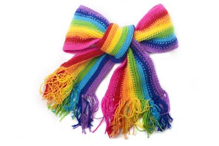 Photo pour Bright rainbow knitted scarf - image libre de droit