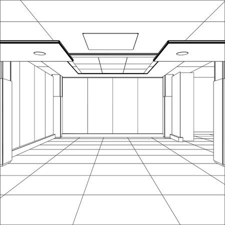 Outline office room. EPS 10 vector format.