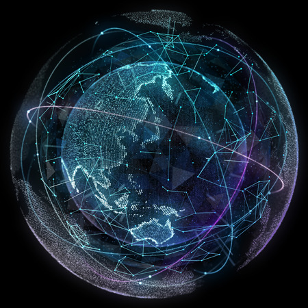 Digital design of a global network of Internet.の写真素材