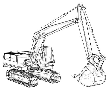 Illustration pour Construction Machine Vehicle. Excavator. EPS10 format. Vector created of 3d - image libre de droit