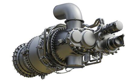 Photo pour Gas turbine engine of power plant. 3d rendering. - image libre de droit
